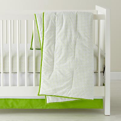Naturepedic Organic Cotton Waterproof Crib Pad Fitted 69 Fine Prints Crib Skirt (Green XO)