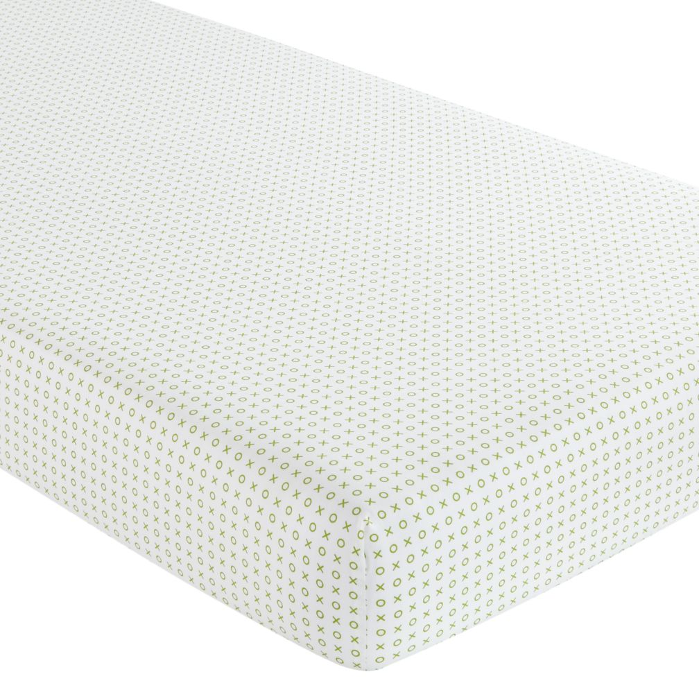 Crib Fitted Sheet (Green XO Print)