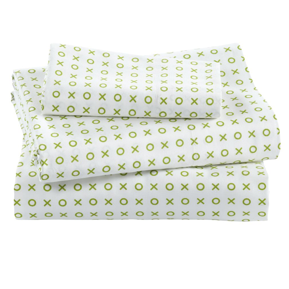 Fine Prints Toddler Sheet Set (Green XO Print)