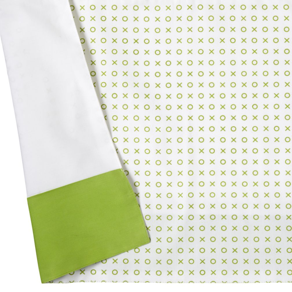 Fine Prints Reversible Crib Skirt (Green XO Print)