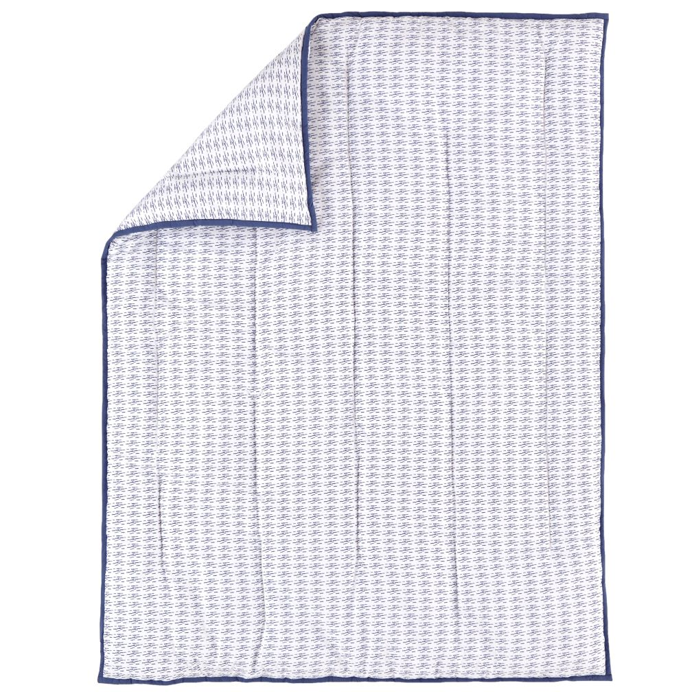 Fine Prints Crib Quilt (Blue Fish)