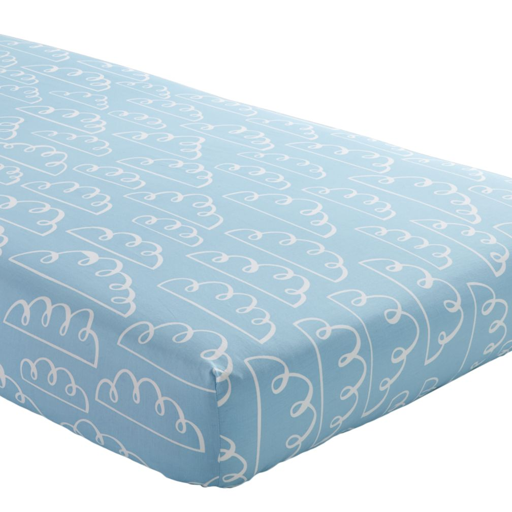 Crib Fitted Sheet (Lt. Blue Clouds)