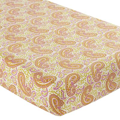 Crib Fitted Sheet (Orange Paisley)