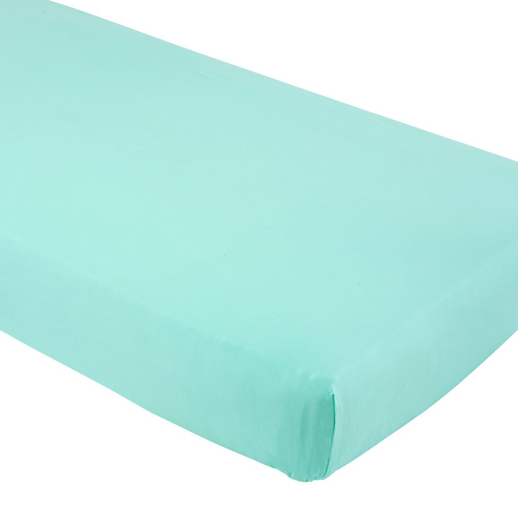 Solid Aqua Iconic Crib Sheet