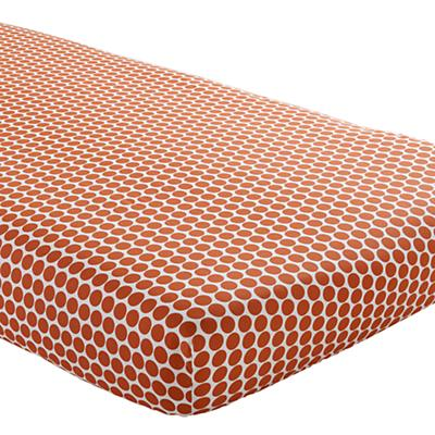 In the Mix Crib Fitted Sheet (Orange Dot)