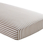 Khaki Striped Crib Fitted Sheet