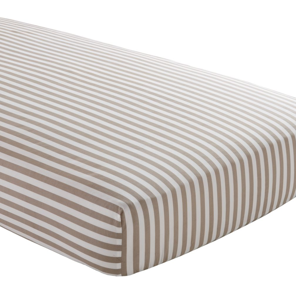 Crib Fitted Sheet (Khaki Stripe)