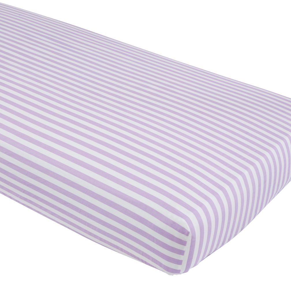 Unicorn Parade Crib Fitted Sheet (Purple Stripe)