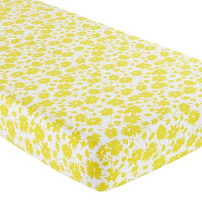 Crib Fitted Sheet (Yellow/White Floral)