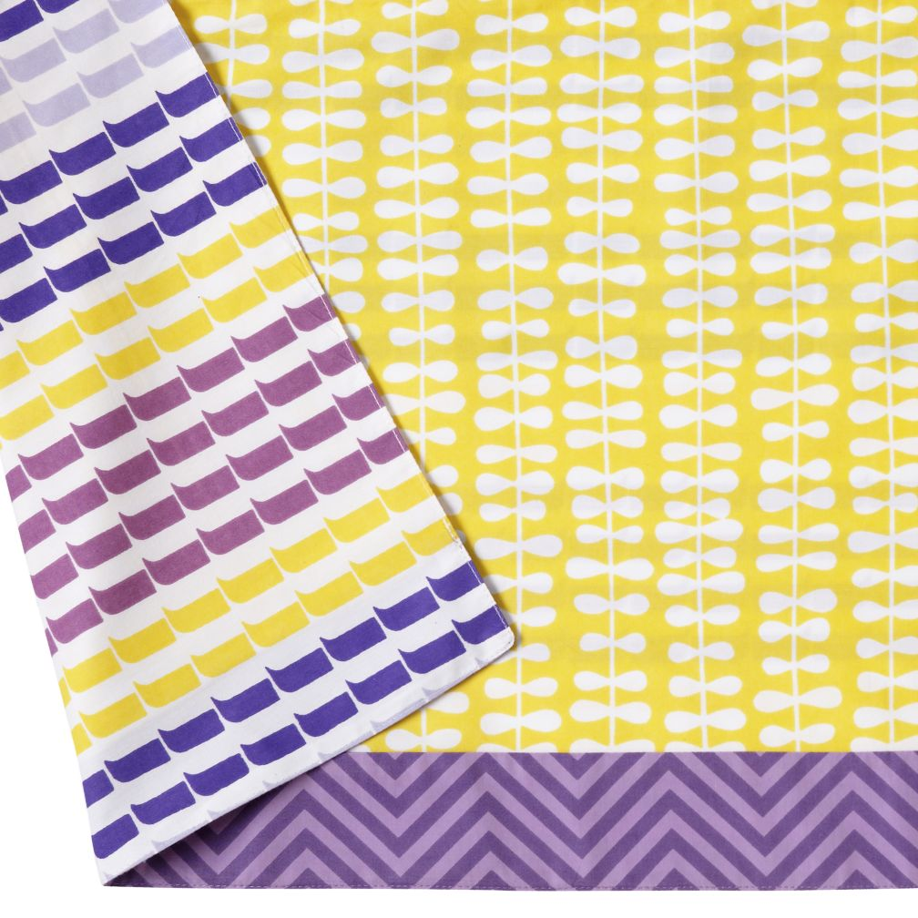 Reversible Crib Skirt (Yellow/Purple)