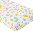 Multi Heart & Geometric Print Crib Fitted Sheet