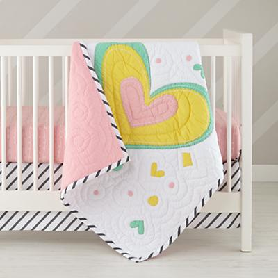 Pattern Party Crib Fitted Sheet (Pink Squiggle)