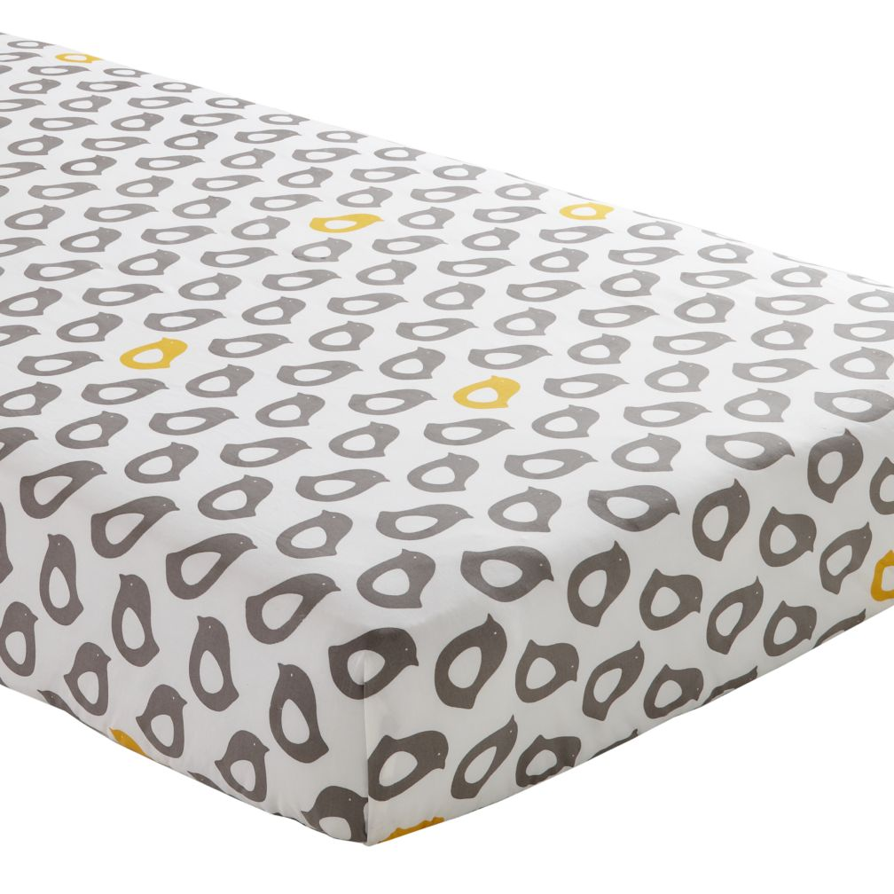 Crib Fitted Sheet (Grey Chick)