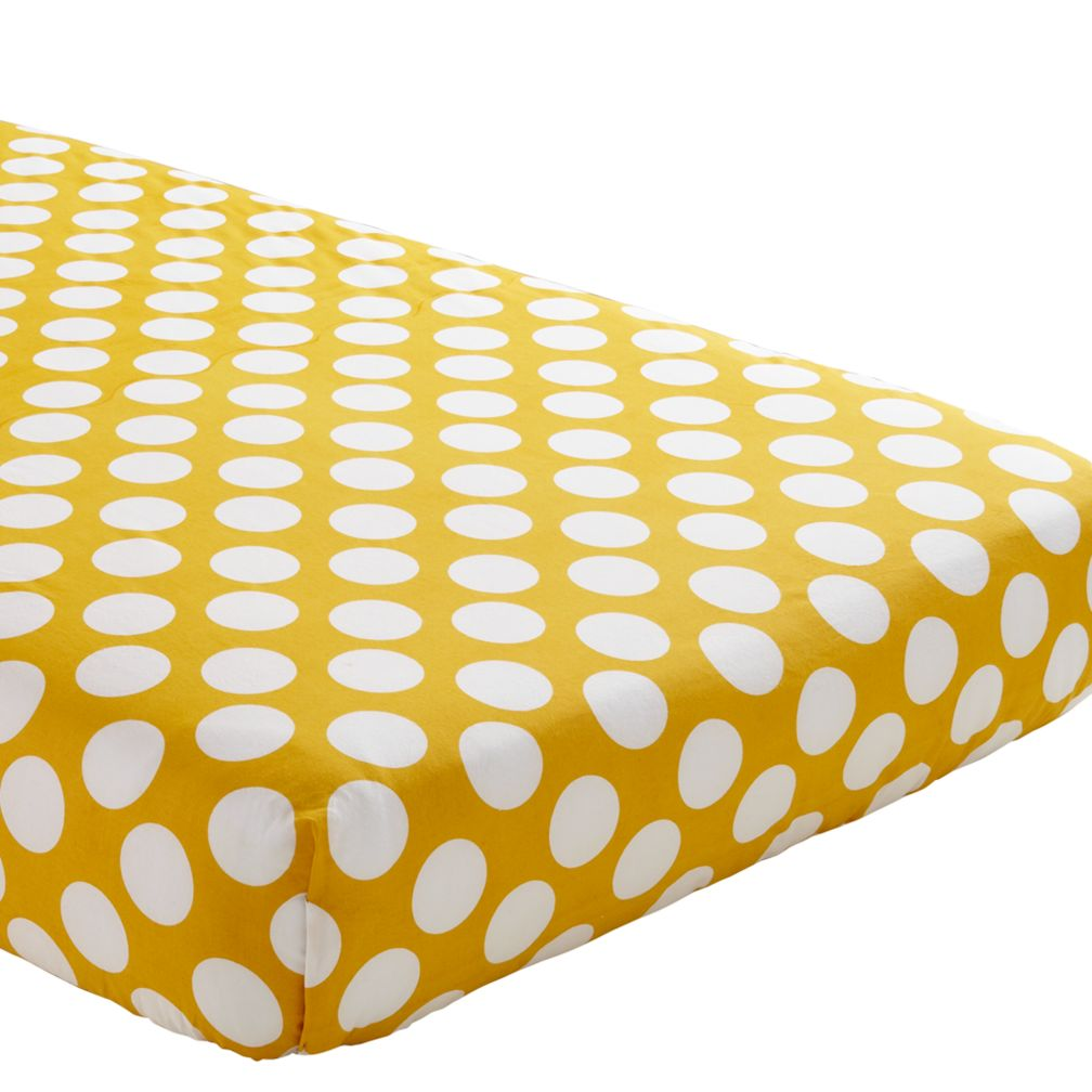 Crib Fitted Sheet (Yellow with White Dot)
