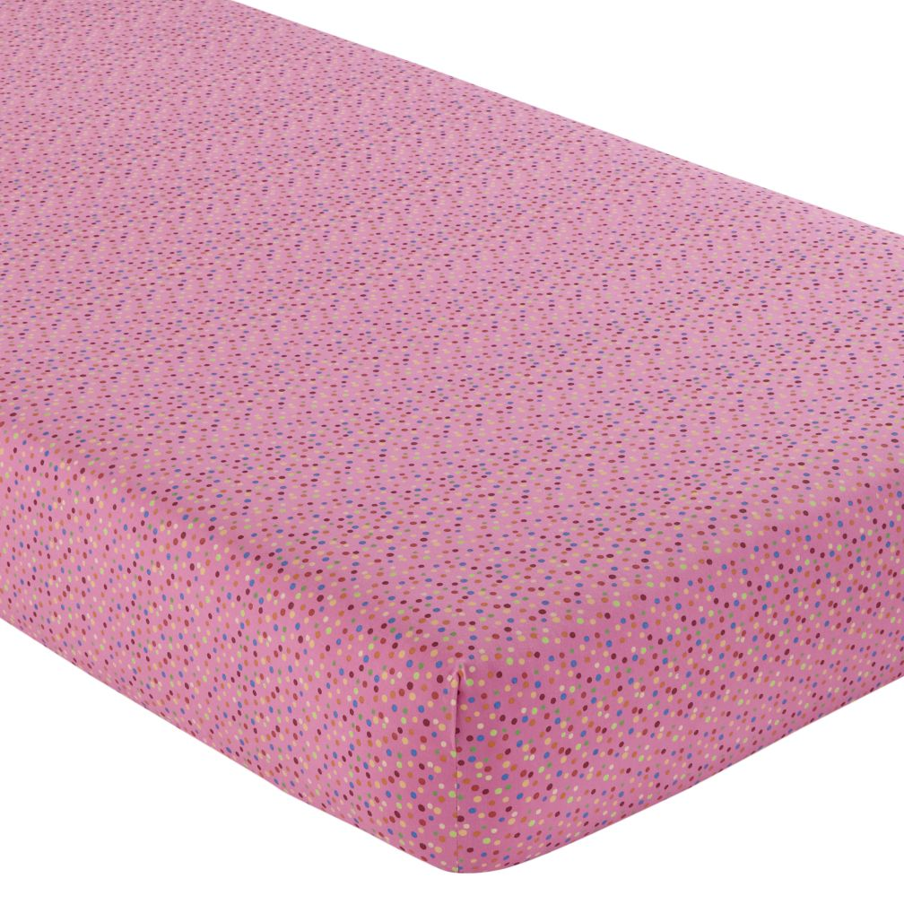 Crib Fitted Sheet (Pink w/Multi Dots)