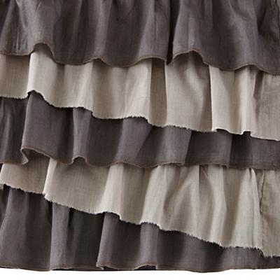 Grey Ruffle Crib Skirt