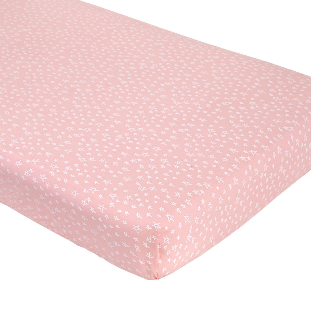 Pink Star Fitted Crib Sheet