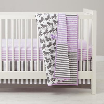 Unicorn Parade Crib Sheet (Purple Stripe)