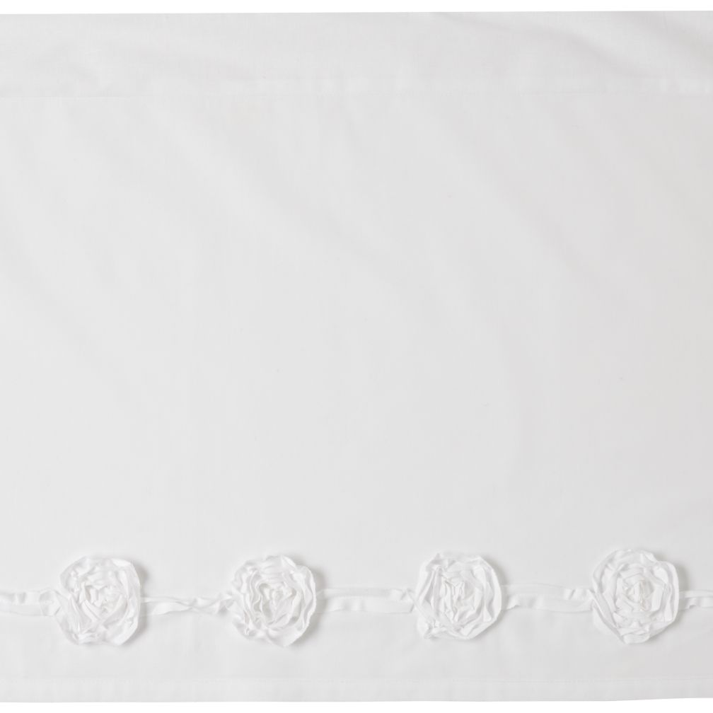 Nice Day White Crib Skirt (with Applique Roses)