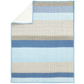 Patterned Print Crib Quilt (Blue)