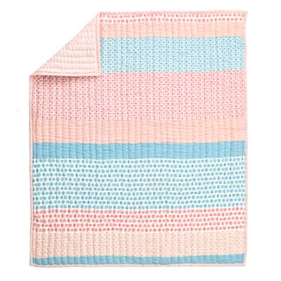 Patterned Print Crib Quilt (Pink)