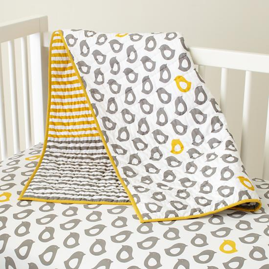 Baby Sheets Grey Chick Fitted Crib Sheet The Land Of Nod