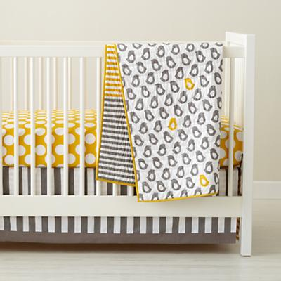 Baby Crib Bedding: Baby Grey & Yellow Patterned Crib Bedding in