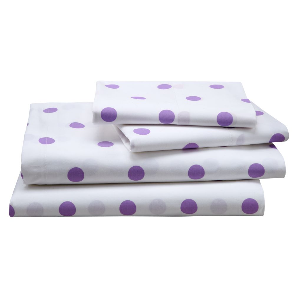 Purple Polka Dot Sheet Set (Queen)