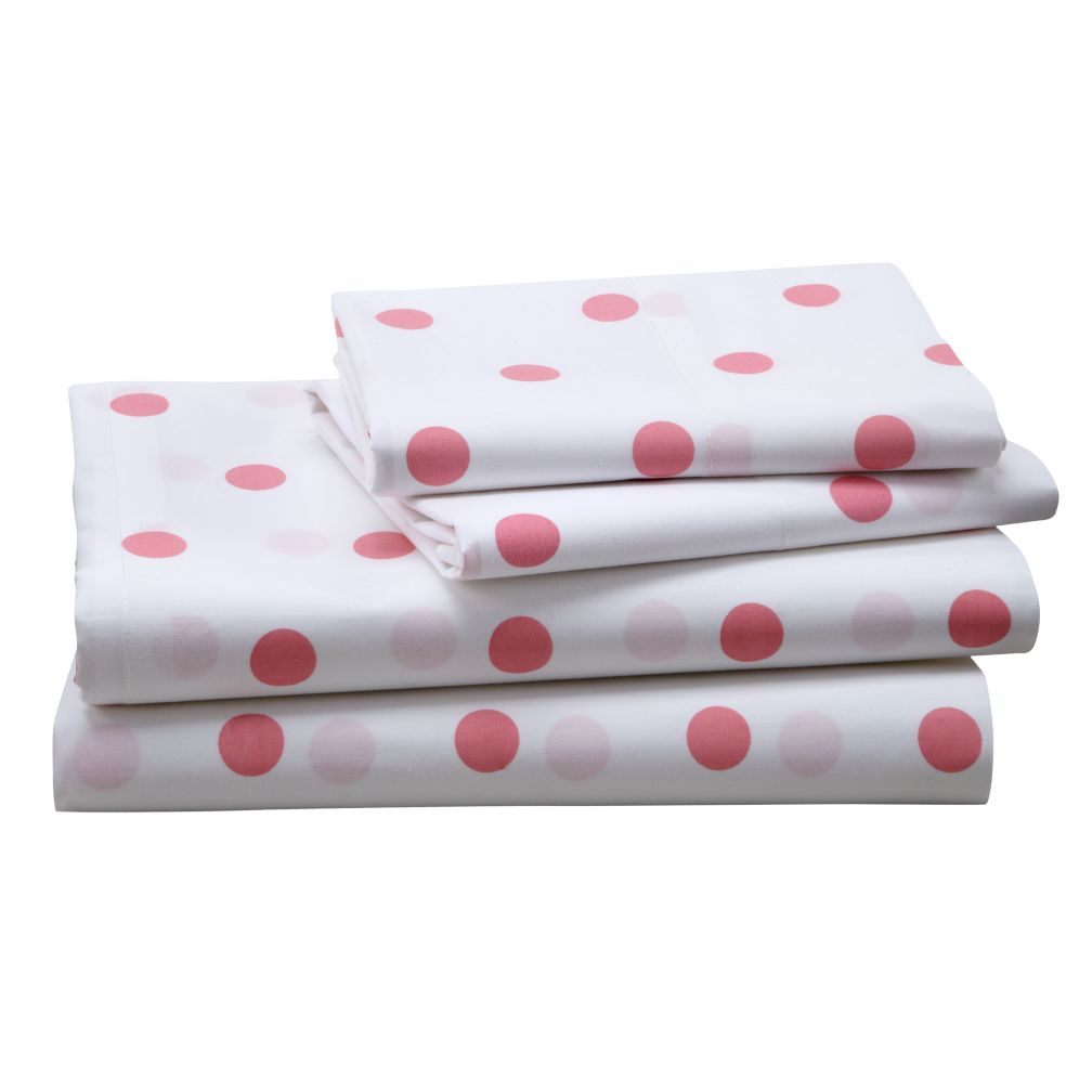 Pink Polka Dot Sheet Set (Queen)