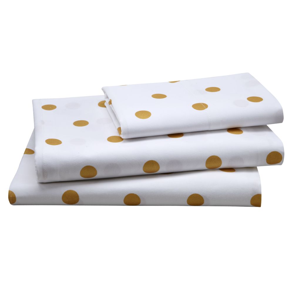 Twin Gold Dot Sheet Set<br /><br />Includes fitted sheet, flat sheet and one pillowcase