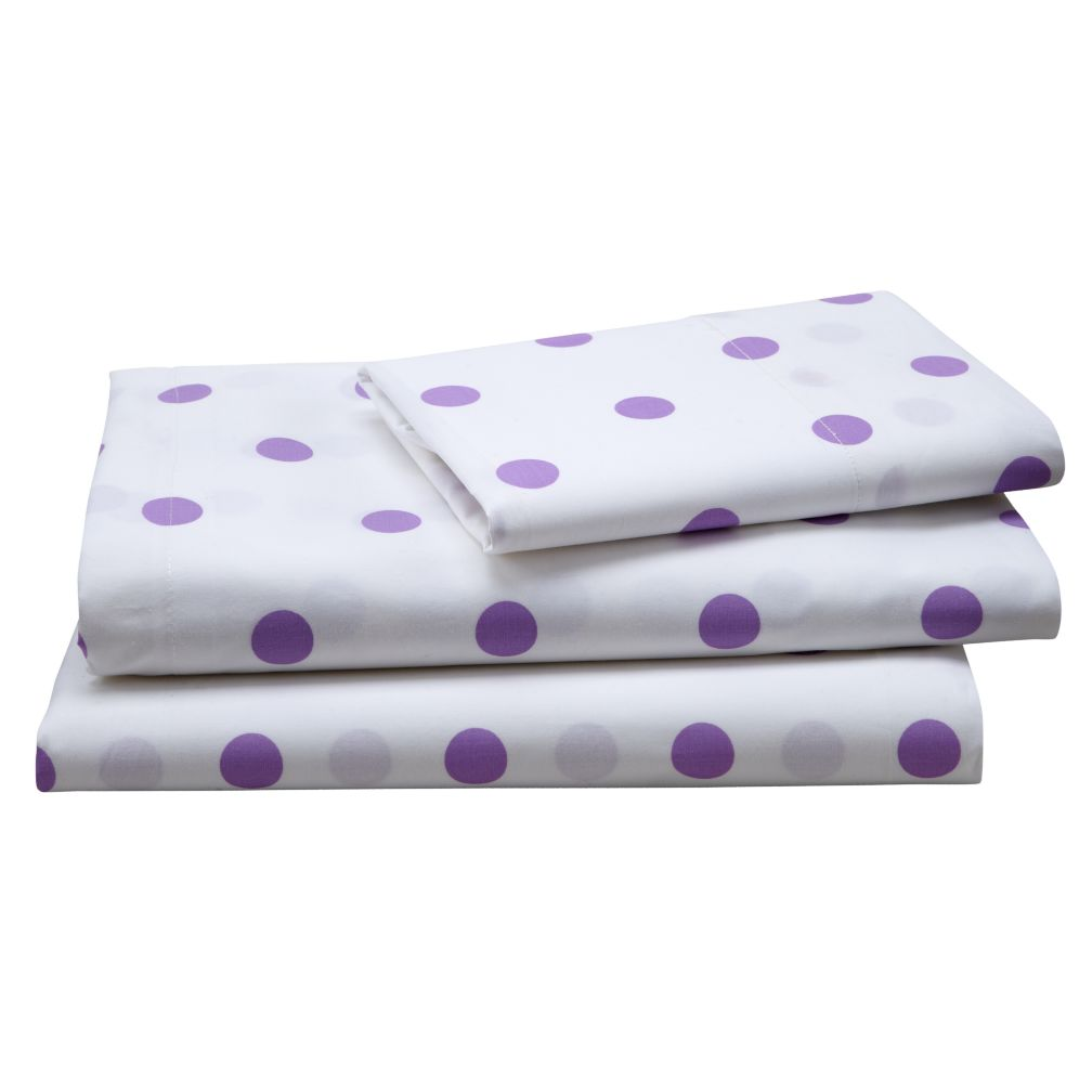 Purple Polka Dot Sheet Set (Twin)