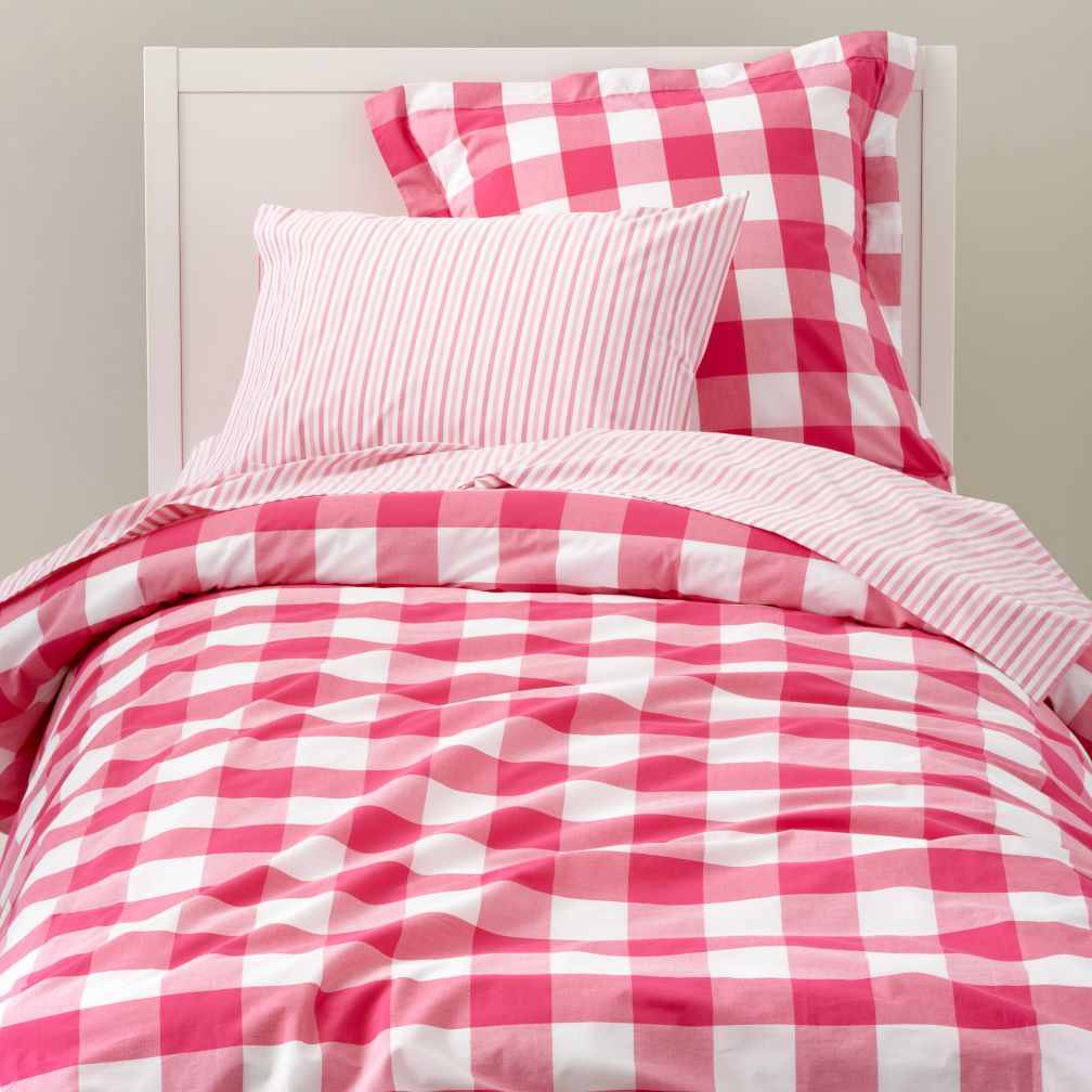Breezy Gingham Duvet Cover (Hot Pink)