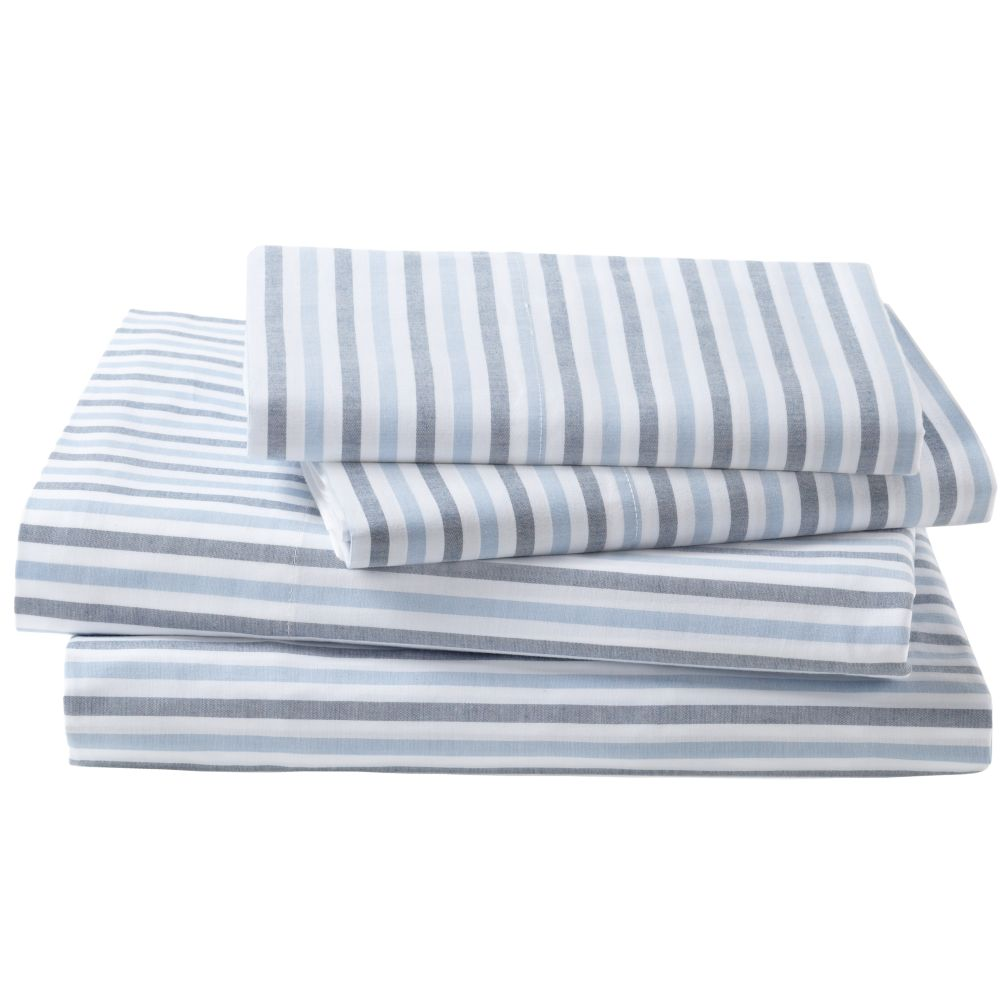 Breezy Stripe Sheet Set (Dk. Blue)