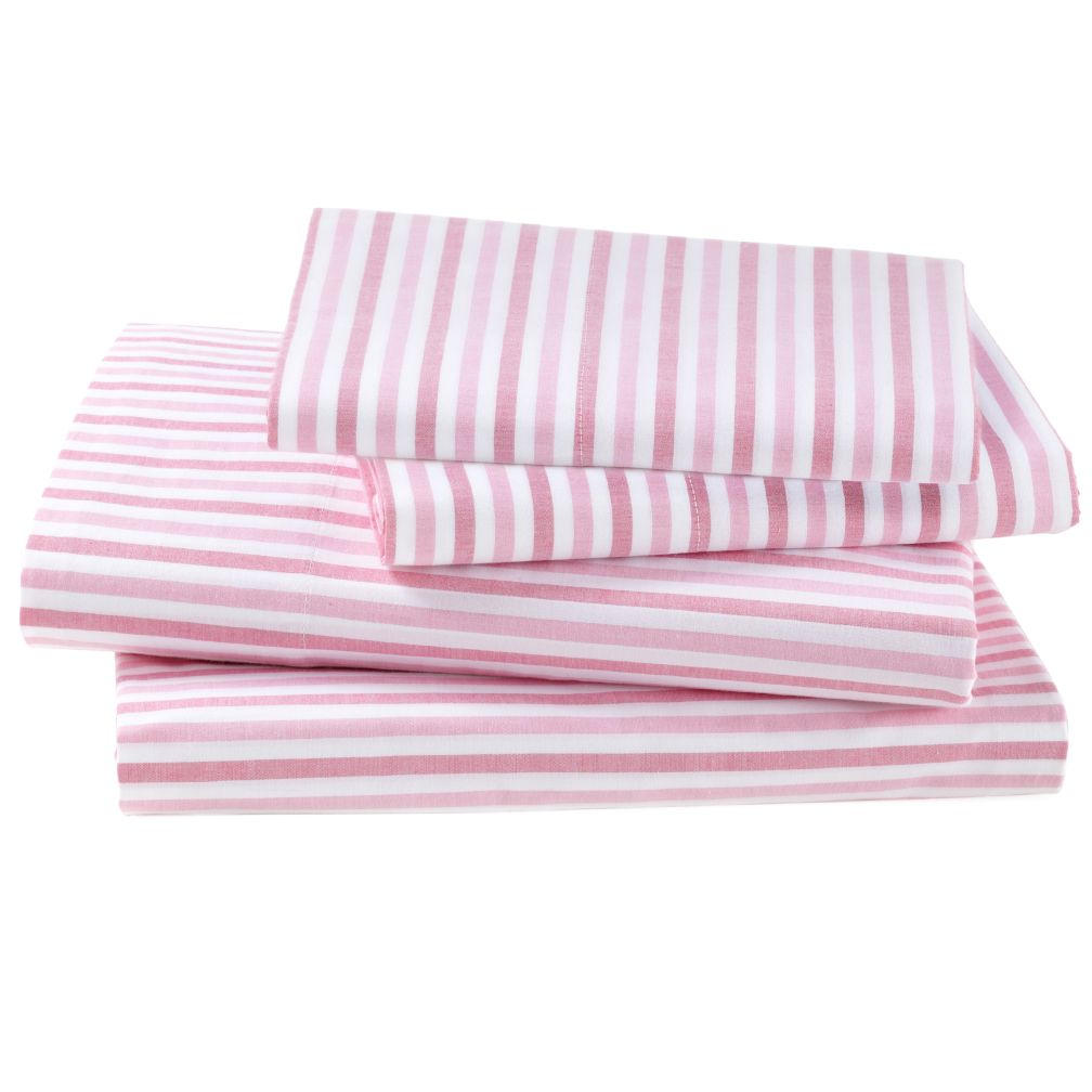 Breezy Stripe Hot Pink Sheet Set (Full)