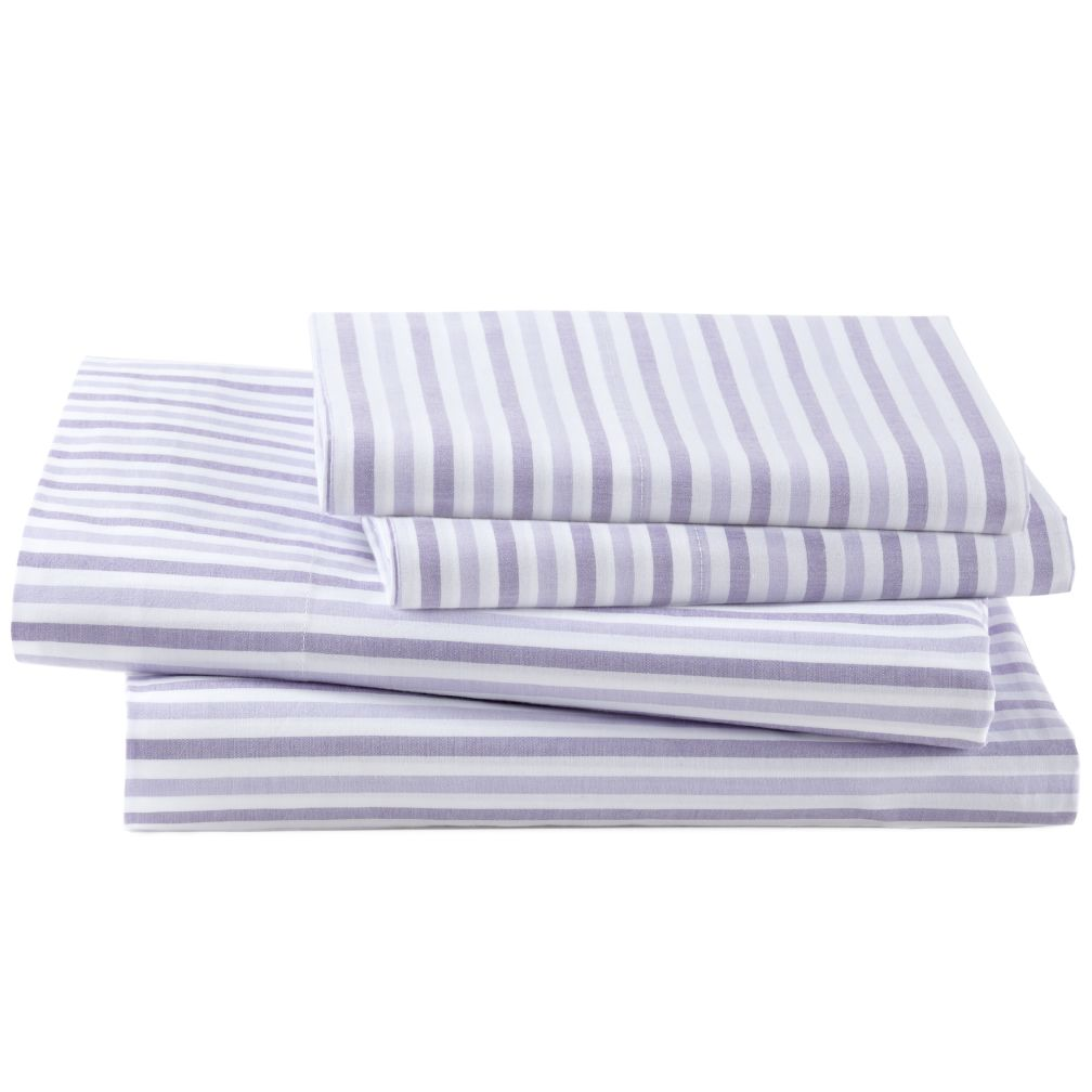 Breezy Stripe Lavender Sheet Set (Full)