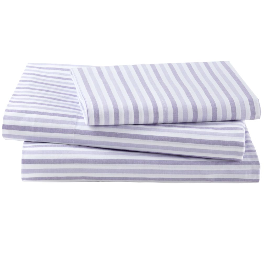 Breezy Stripe Lavender Sheet Set (Twin)