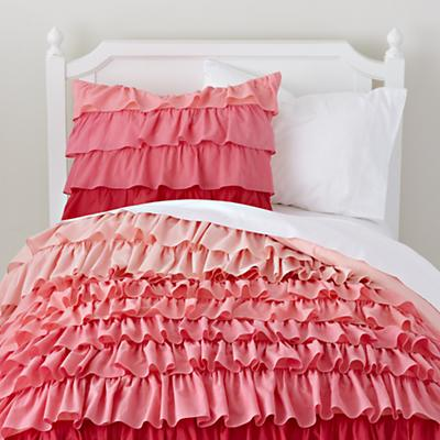 Girls Bedding: Pink Ombre Ruffled Bedding Set | The Land of Nod