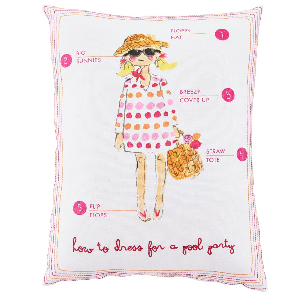 Fashionista Throw Pillow (Pool Party)