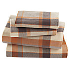 Full Brown Plaid Flannel Sheet Set (includes 1 fitted sheet, 1 flat sheet and 2 cases)