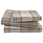 Twin Grey Plaid Flannel Sheet Set(includes 1 fitted sheet, 1 flat sheet and 1 case)