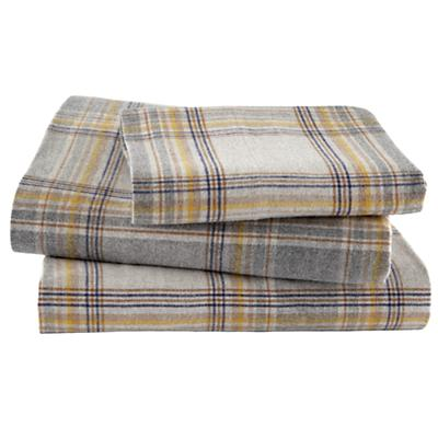 Grey Plaid Flannel Sheet Set (Twin)