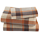Twin Brown Plaid Flannel Sheet Set(includes 1 fitted sheet, 1 flat sheet and 1 case)