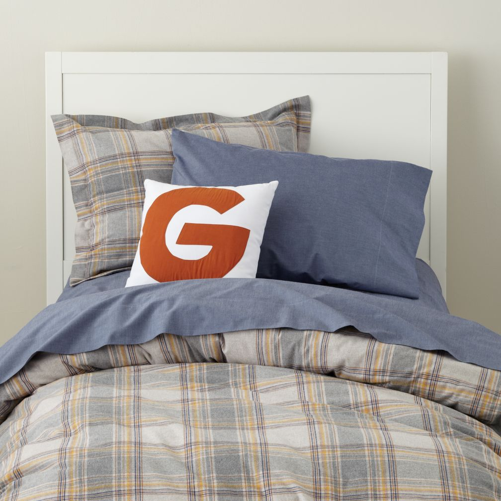 Grey Plaid Flannel Duvet Cover