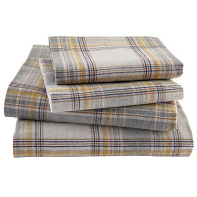 Grey Plaid Flannel Sheet Set (Full)
