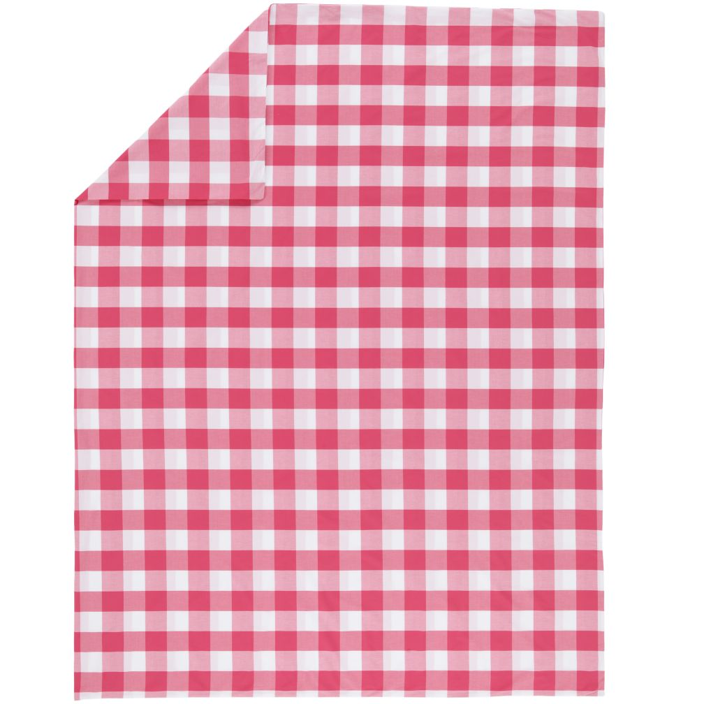 Hot Pink Breezy Gingham Duvet Cover (Full-Queen)