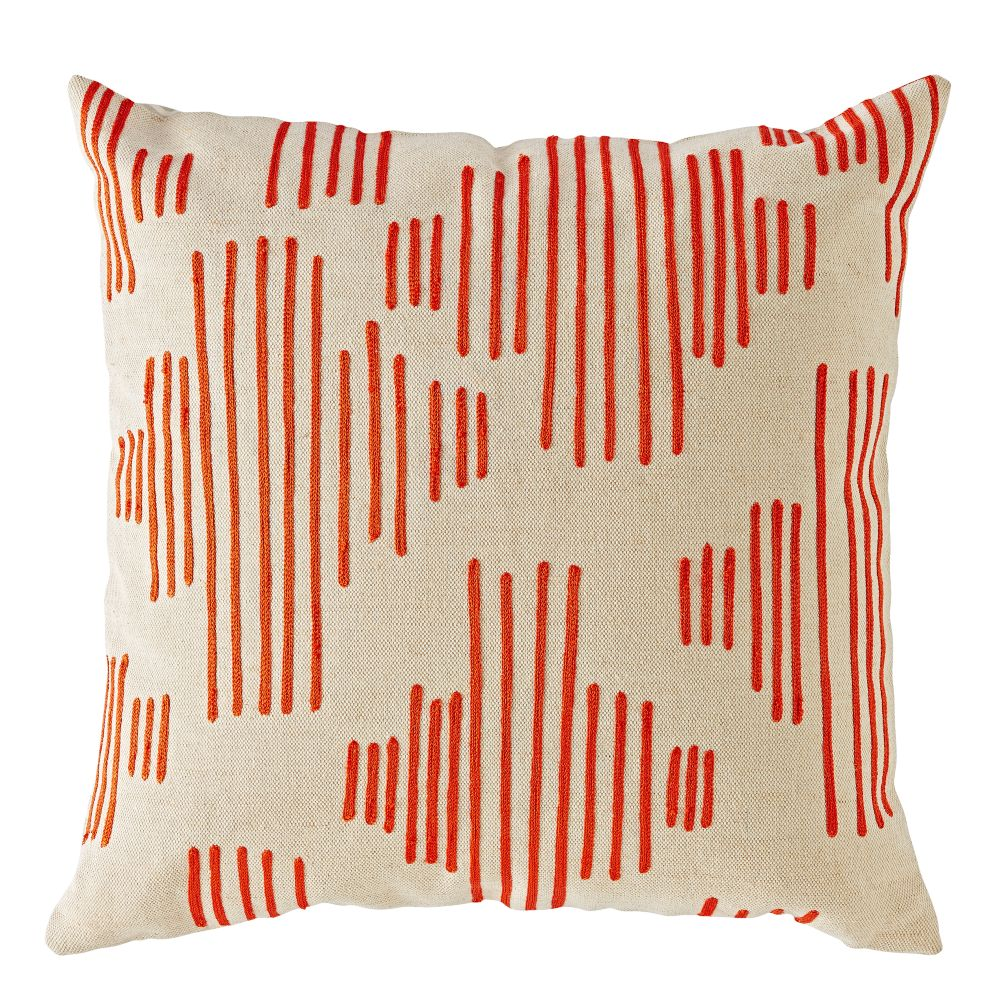 Mod Botanical Throw Pillow (Red Stripe)