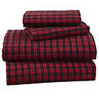 Queen Northwoods Flannel Red Plaid Sheet Set(includes 1 fitted sheet, 1 flat sheet and 2 cases)