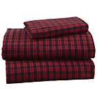 Twin Northwoods Flannel Red Plaid Sheet Set(includes 1 fitted sheet, 1 flat sheet and 1 case)