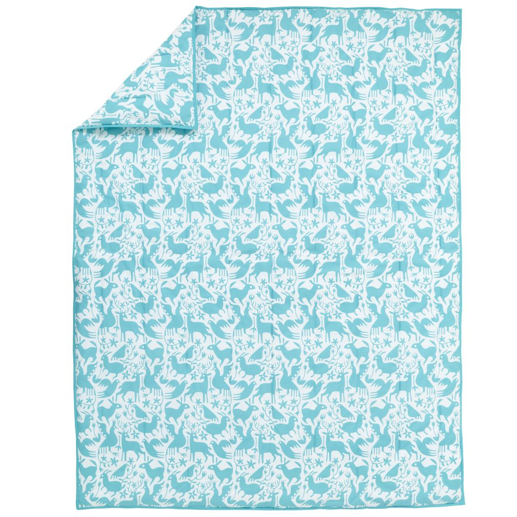 Animales Gráficos Teal Comforter (Full-Queen)