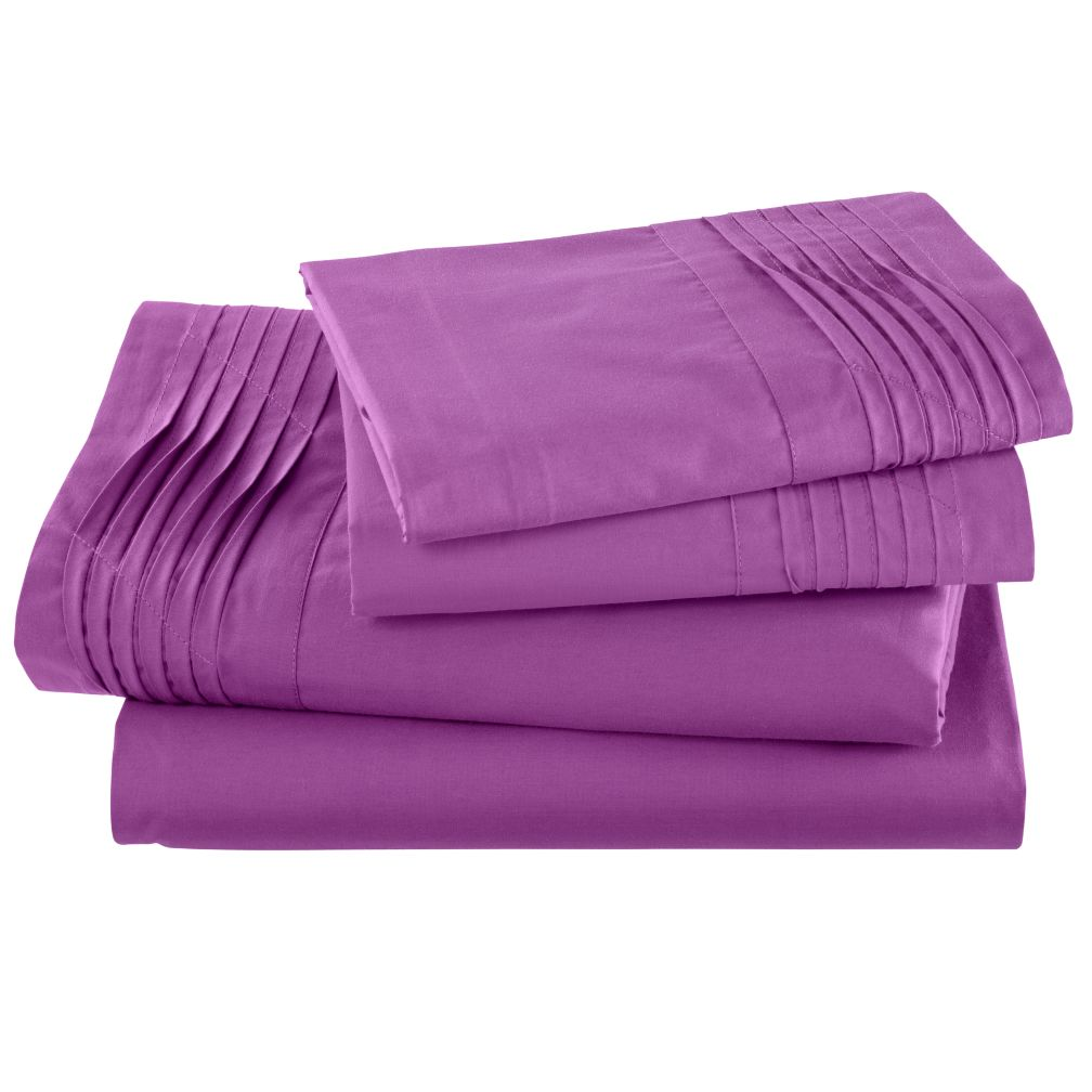 Pinch and Pleat Purple Sheet Set (Queen)